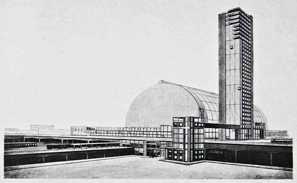 Проект центрального вокзала. Москва, А. К. Буров. Перспектива.