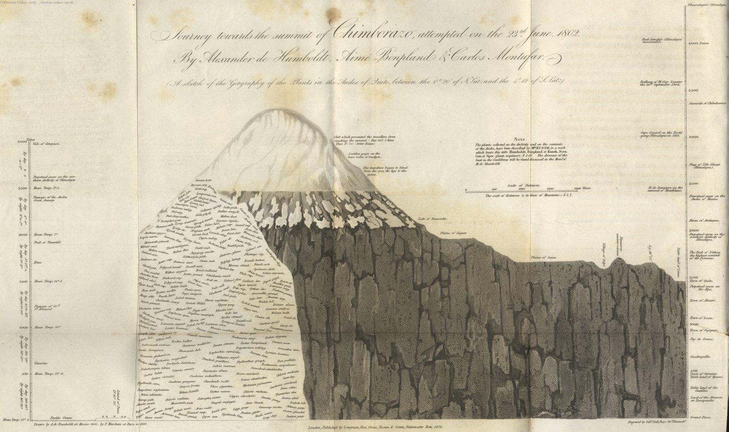 Иллюстрация Гумбольдта к его знаменитому восхождению на гору Чимборасо в Андах в 1802 году.