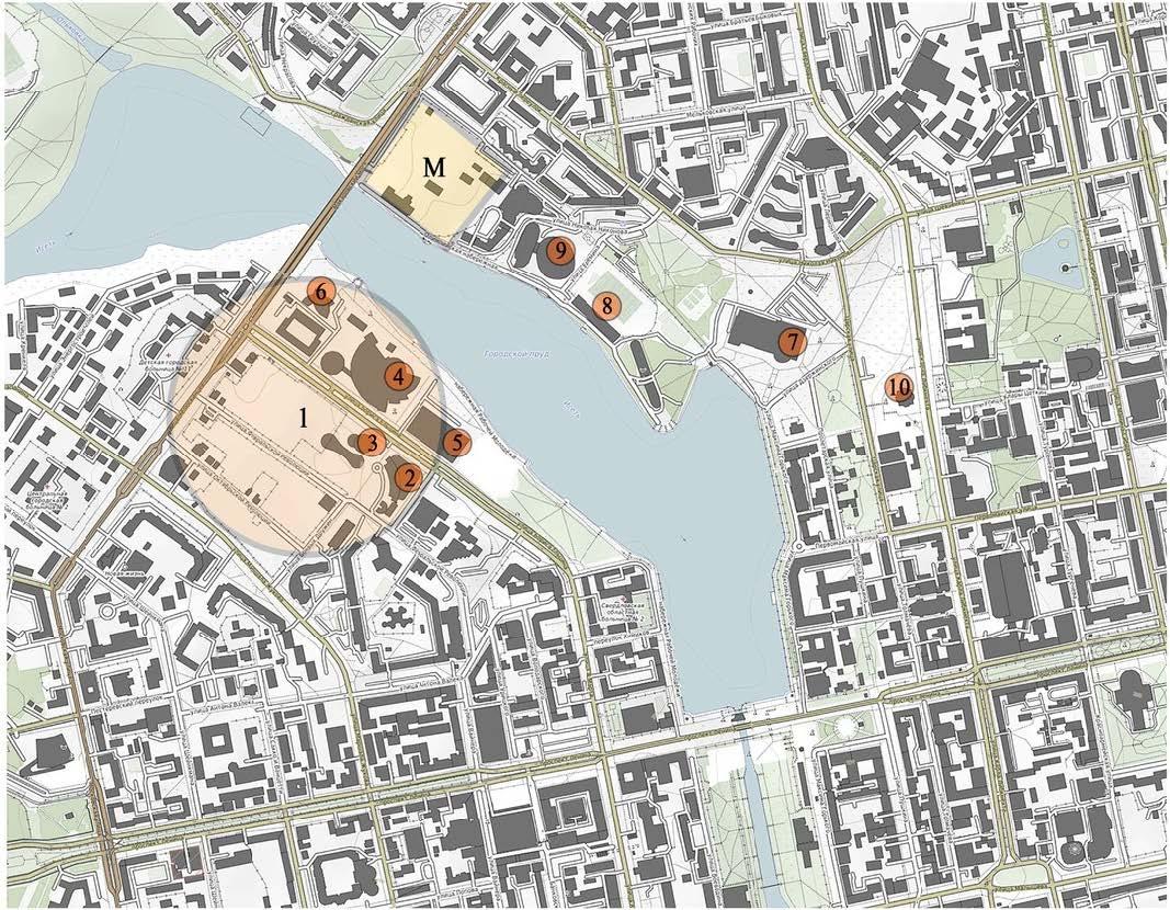 Благоустройство набережной и новый пешеходный мост через городской пруд; интеграция строящегося жилого  комплекса («Макаровский  квартал», Екатеринбург) в структуру набережной. Участок проектирования в структуре города