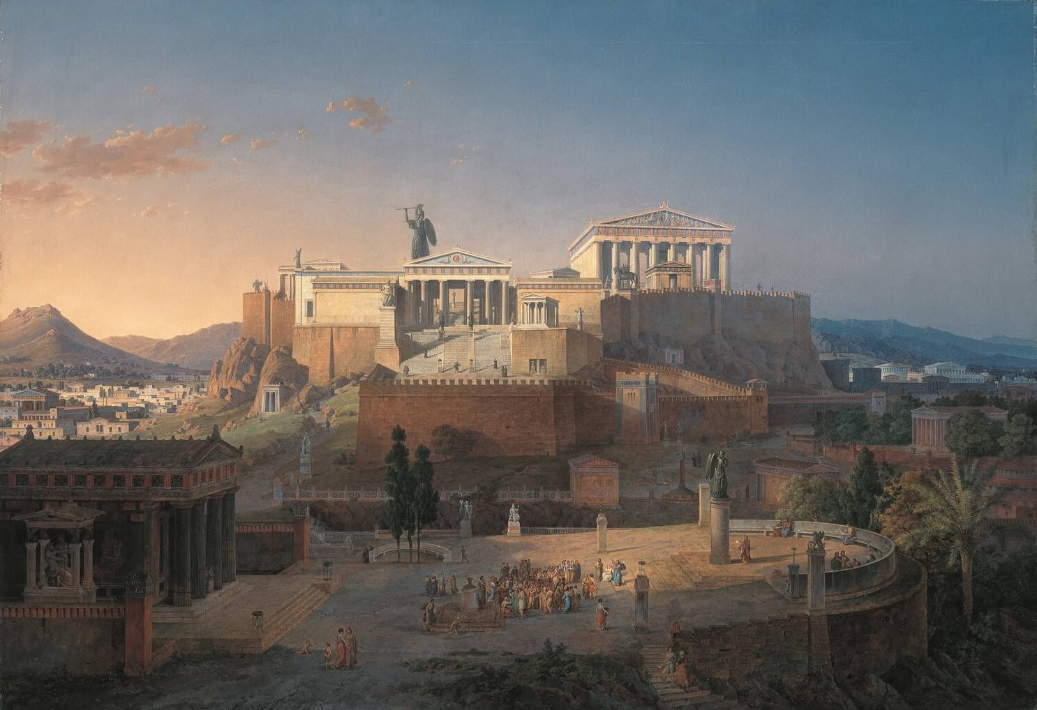 Leo von Klenze: Reconstruction of the Acropolis and Areopagus in Athens. 1846