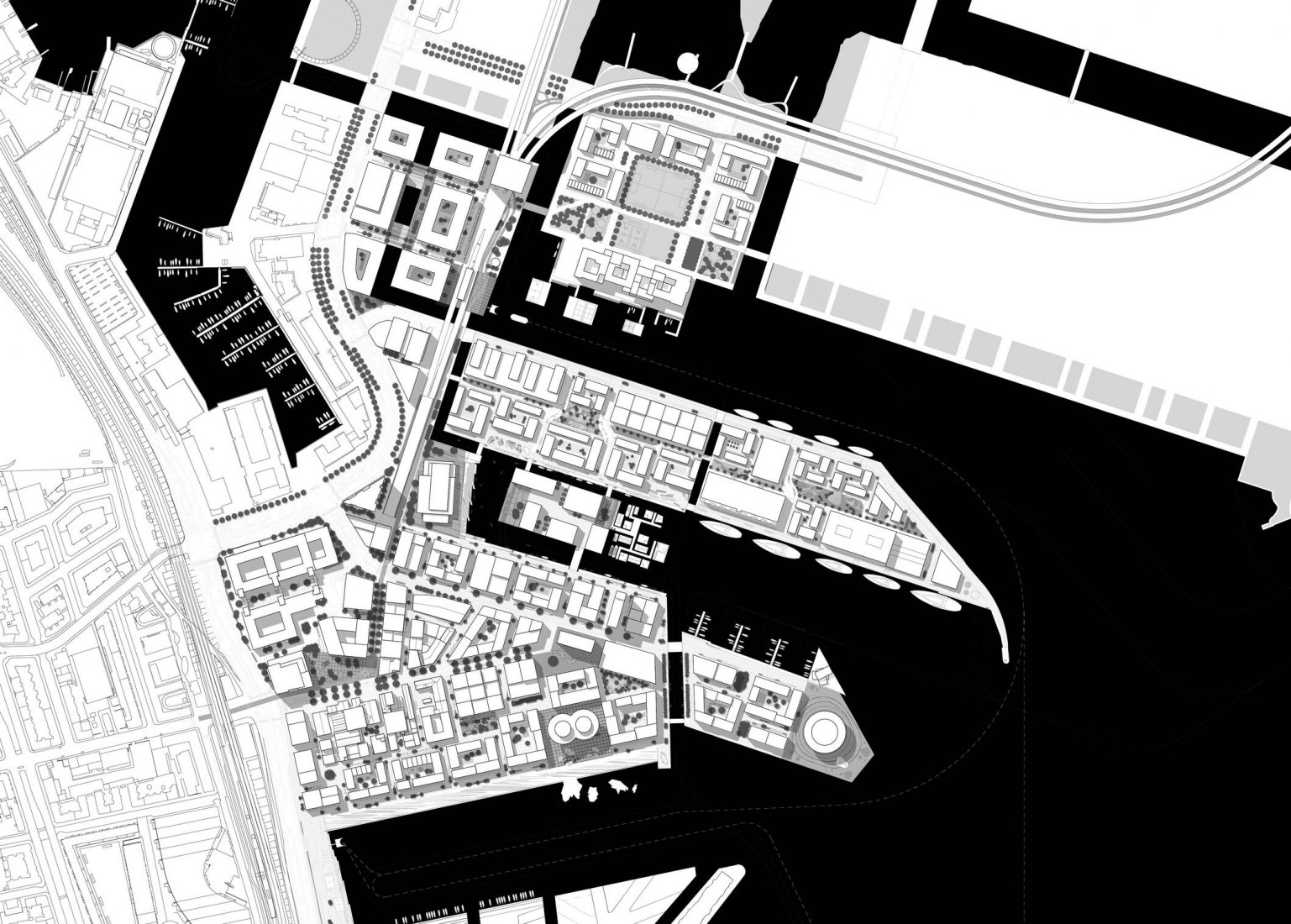 The structure plan from the winning 2008 competition proposal is the basis of the continuous development of the master plan. The plan envisions Nordhavn as an urban archipelago of small islands connected by pedestrian infrastructure and green elements.