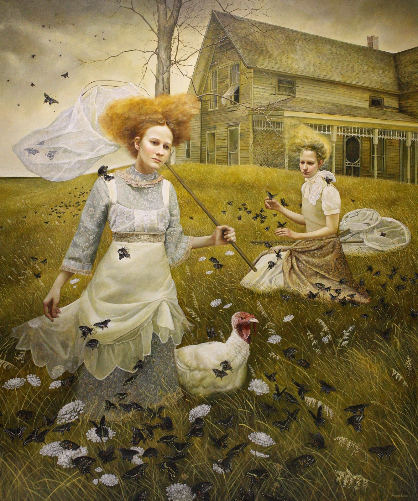 Andrea Kowch gothic rural witchcraft paintings