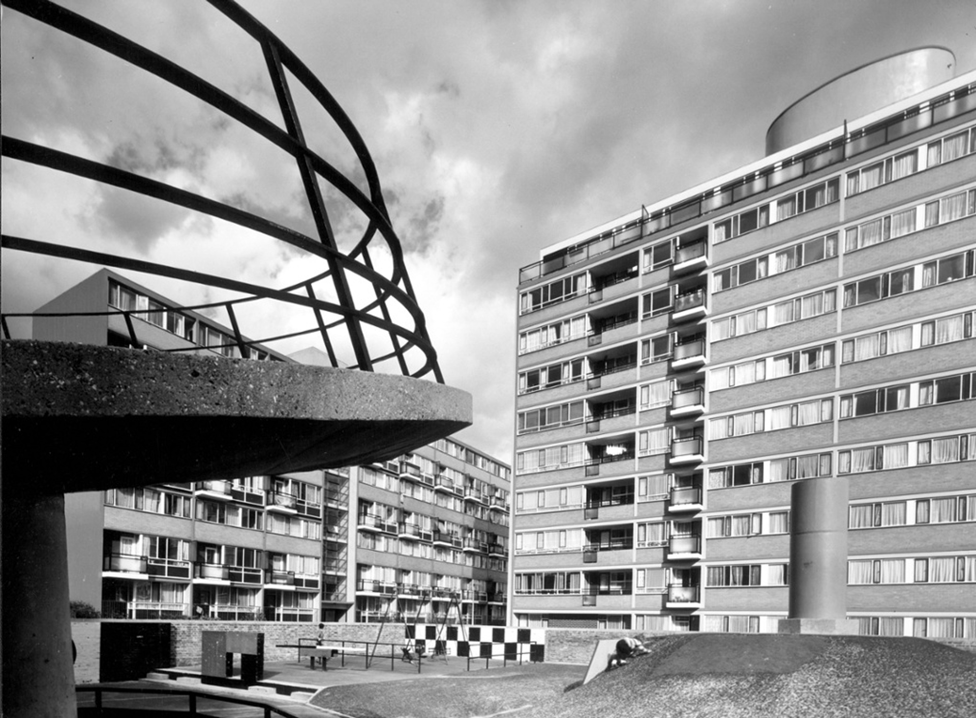 Churchill Gardens estate playground, Pimlico, 1963