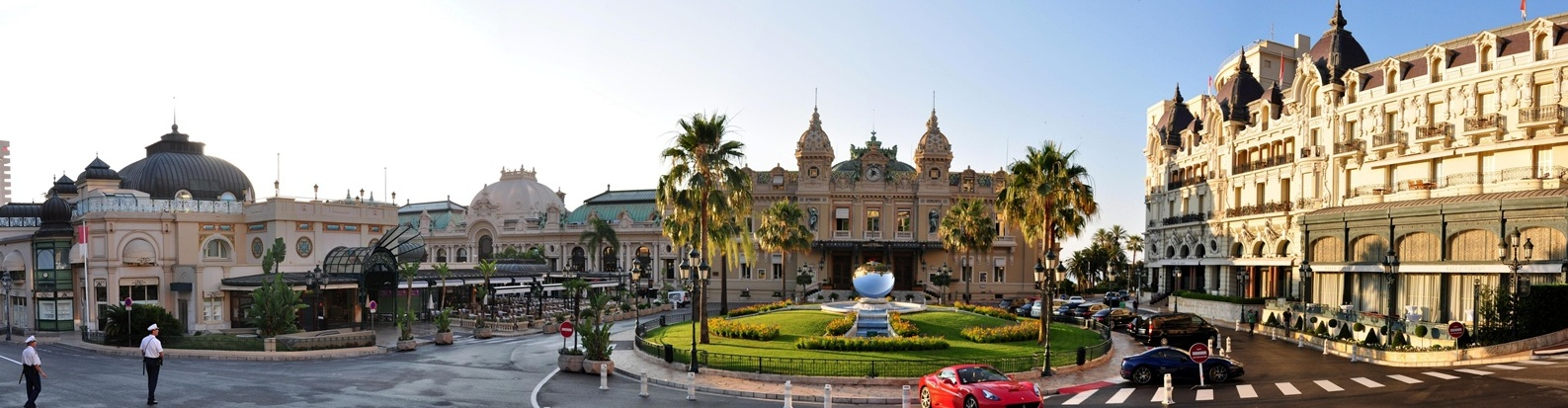 Panorama with the casino building in Monte Carlo in the center.