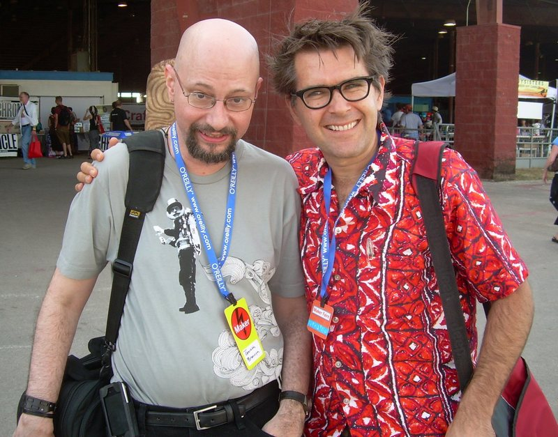 Gareth Branwyn (left) and Mark Frauenfelder at Maker Faire Austin 2007. Photograph by Jon Lebkowsky