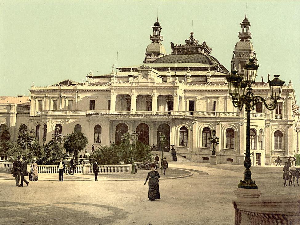 Facade of the casino in Monte Carlo after a partial reconstruction and expansion of the building in 1878-79. The photo was taken between 1890 and 1900.