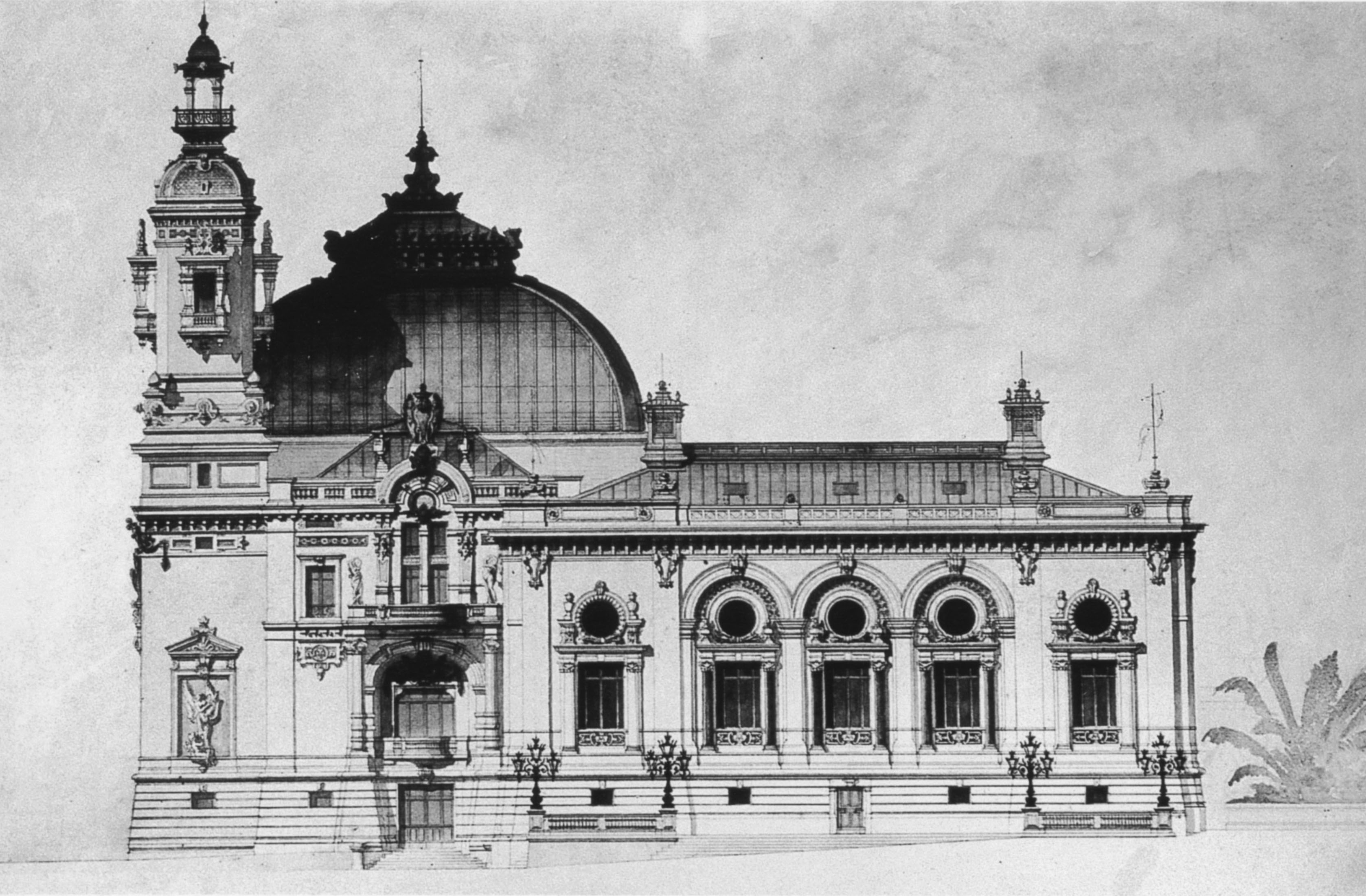 The eastern facade of the Monte Carlo Casino (1878-80), which housed the Trente et Quarante (Thirty and Forty), a French card game popular at casinos in France, Italy and Monaco in the 19th century; the predecessor of blackjack.