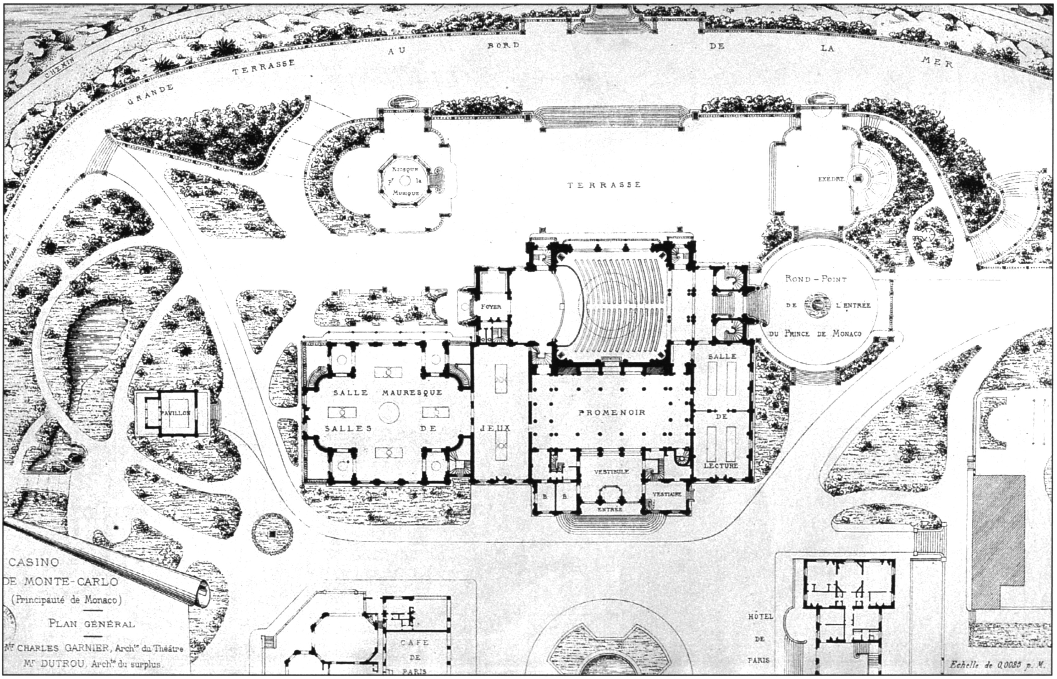Master plan to renovate a casino in Monte Carlo (1879). The project of the Opera House is by Charles Garnier, the rest of the complex is by Jules Dutro.