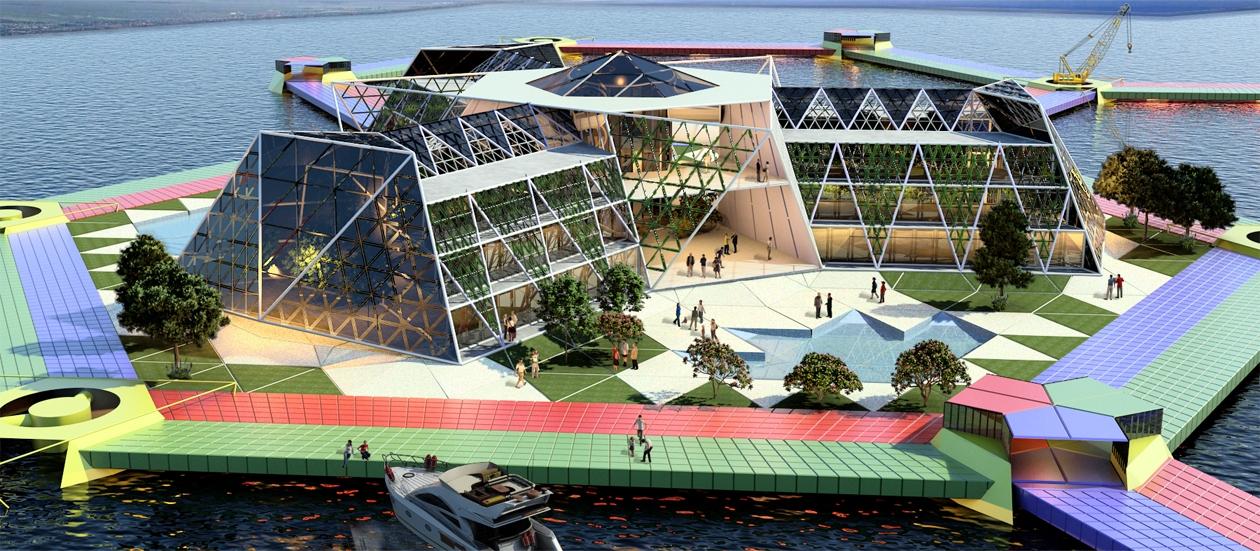 Конкурс эскизных проектов плавающих городов, 2015. 3-е место. Prismatic Module Island. Автор проекта: Matias Perez