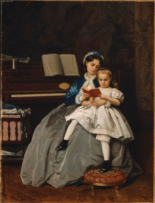 Reading Lesson (1865) — Огюст Тульмуш (Auguste Toulmouche)