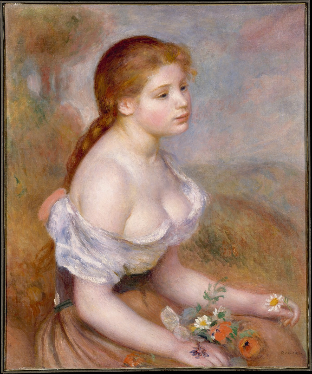 A Young Girl with Daisies / Auguste Renoir / 1889
