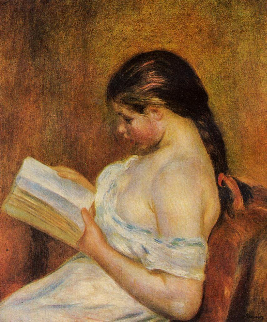 Young Girl Reading (1891) — Пьер Огюст Ренуар (Pierre-Auguste Renoir)