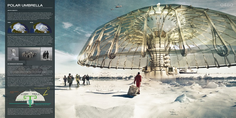 Polar Umbrella Buoyant Skyscraper Protects and Regenerates the Polar Ice Caps