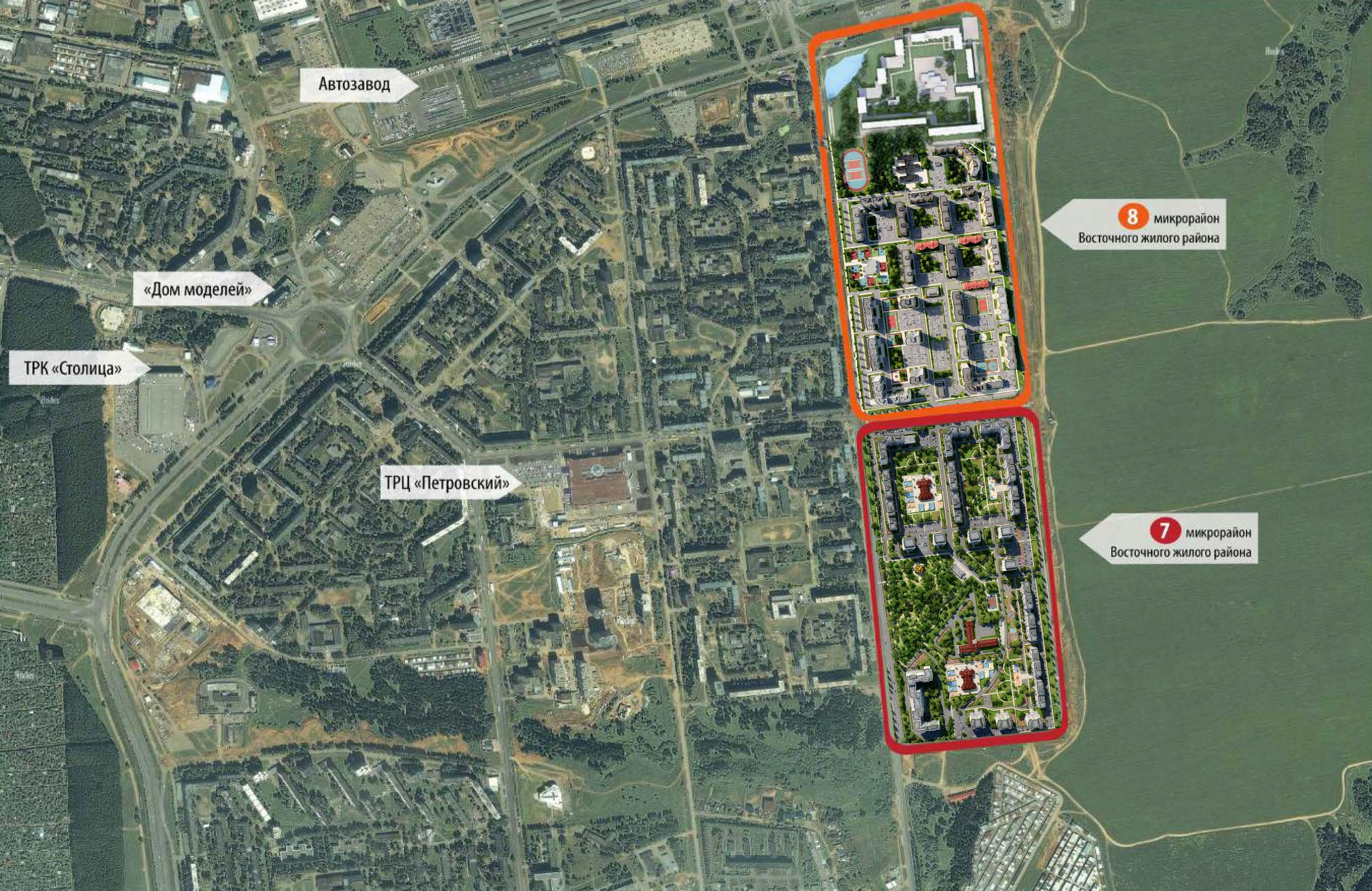 Схема расположения 7-го и 8-го микрорайонов жилого района «Восточный» в Устиновском районе г. Ижевска