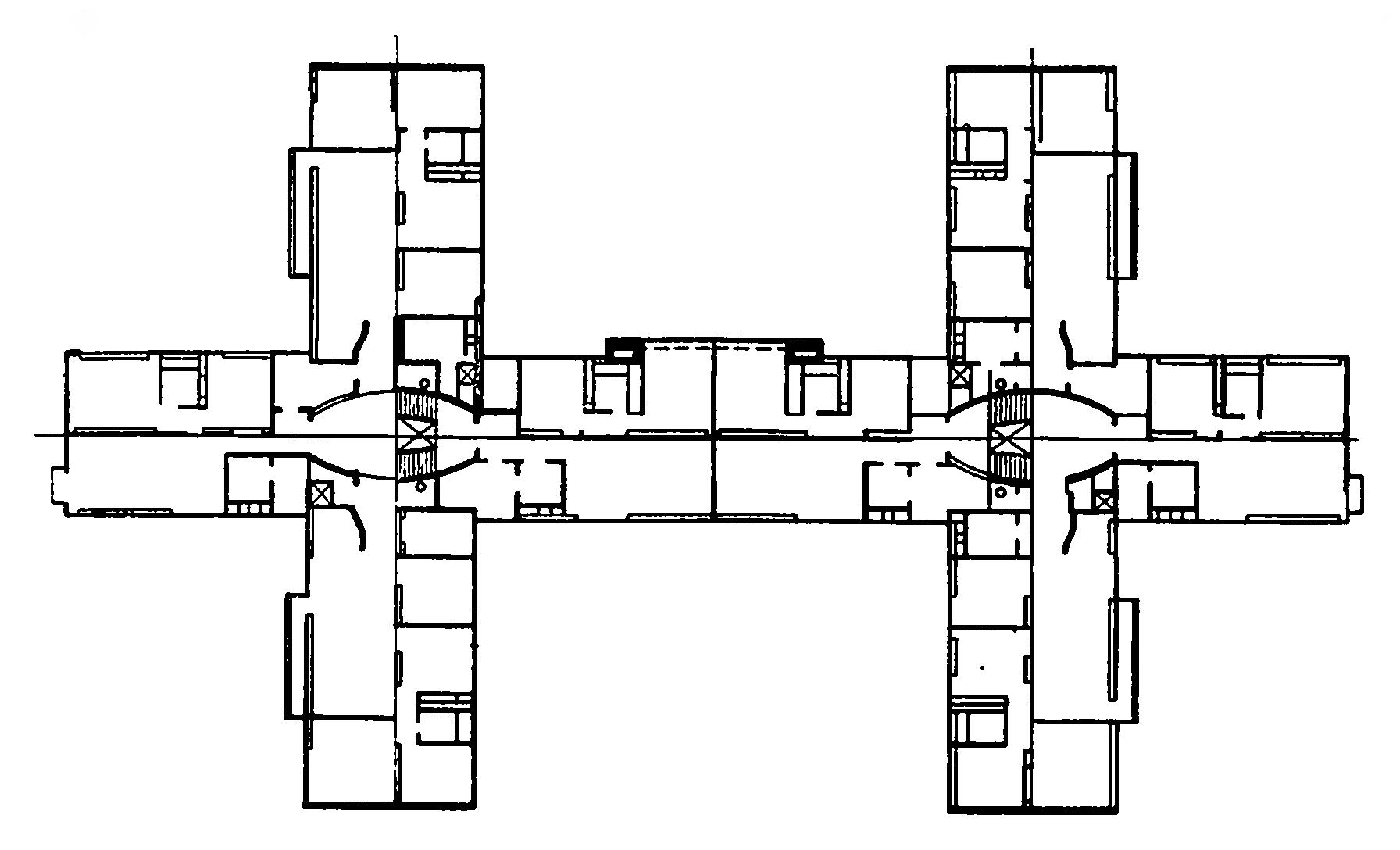 Жилой дом галерейного типа на autocad