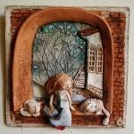 Девочка и коты. Шамот, фаянс, глина, смальта.