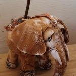 Подставка для аромо — слон. Шамот, фаянс, глина, смальта.