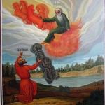 Икона Св.Пр. Ильи и Св. Пр. Елисея, размер: 35x41 см. Липа.