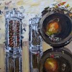 «Перечницы». Картина мастихином. Холст/масло, размер 50x75 см. Дата создания: декабрь 2013 года.
