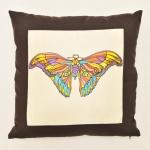 Подушка «Бабочка», выполнена в технике батика и вышивки.