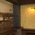 Ресторан «Старая башня», Сарапул. Жёлтая стена: фактурное покрытие Рельеф Абстракт («Мраморикс»), эффект рваного камня. Колонна: декоративная штукатурка Klondike (Valpaint)