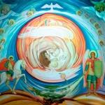 «Мироздание»,  холст, акрил, гуашь. Размер — 1, 60 x1,40.
