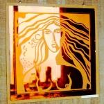 Портрет. Цветное стекло, отзеркаливание и пескоструй.