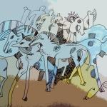 Синие лошади