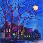 Синяя ночь. Масляная пастель.