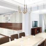 Квартира для молодой пары. Гостиная совмещена с кухней.