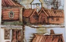 Фрагмент уездного города. Диптих. Шамот, фаянс, глина, смальта.