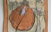 Жук, лист, травы. Шамот, фаянс, глина, смальта.