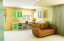 Квартира 2-комнатная. Гостиная - столовая.