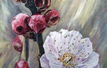 Urik Gullaganda. Название картины в переводе с узбекского языка: «Когда цветет миндаль». Холст/масло, размер 50x70 см. Дата создания: 19.02.2013. Находится в частной коллекции.