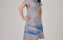 """Платье """"Ручей"""" цельноваляное из мериносовой шерсти."""