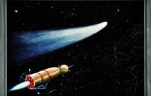 В погоне за кометой. 1988 год. 50X40 см. Оргалит, масло.