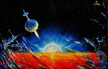 Над раскалённой планетой. 1988 год. 50X35 см. Оргалит, масло.