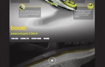 Adidas. Дизайн страницы для новой коллекции обуви Adidas. На странице должны были быть отражены все основные преимущества продукта в доступной и творческой форме.