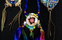 Ювелирная эмаль, медь, цветные нити, перья.