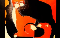Рыжий кот. Цветной картон, цветная бумага, смешанная техника.